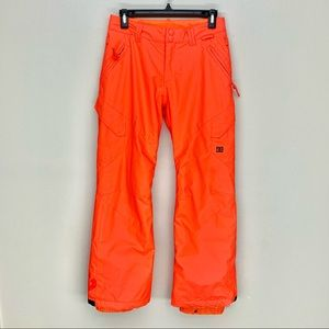 DC Neon Orange Kids Snow Pants Size 14
